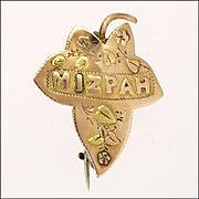 English 1899 9K Gold Ivy Leaf 'Mizpah' Pin