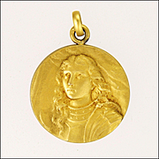 French Circa 1910 18K Gold Filled Joan of Arc Pendant