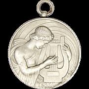 French Art Deco Silvered Bronze St. Cecelia Pendant Medal -GALTIE