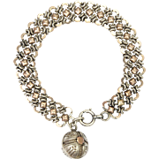 French Antique Silver and 18K Gold Overlay Bracelet
