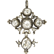 Late Georgian French Silver and Rock Crystal Quartz Cross Pendant