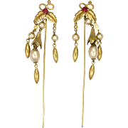 A Pair of Edwardian Gilt Metal Paste and Faux Pearl Hair Pins