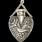 Antique English 1901 Silver Bird Perfume Flask Pendant - SAMSON MORDAN