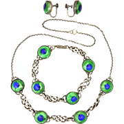 English Arts & Crafts 1930's Sterling Silver and Peacock's Eye 3 Piece Set