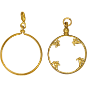 A Pair of French Antique Gold Plated Glass Lockets