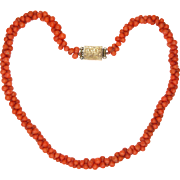 Victorian Coral Necklace with 9K Gold Clasp