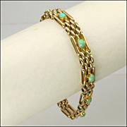 English Edwardian 9K Gold Turquoise Gate Bracelet -13.1 grams