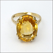 SALE PENDING English 9K Gold & Citrine Ring- Hallmarked 1992