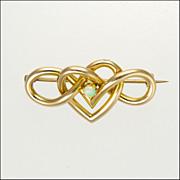 Art Nouveau Circa 1900-1910 9 Carat Gold Heart Opal Pin