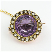 Victorian 9K Gold Amethyst Seed Pearl Lace Pin