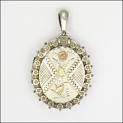 English Victorian Large Sterling Silver and  Gold Appliqué Locket
