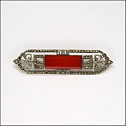 Art Deco 935 Silver Marcasites and Carnelian Agate Pin -Germany