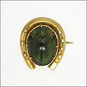Victorian Egyptian Revival 9K Gold Horseshoe & Scarab Pin