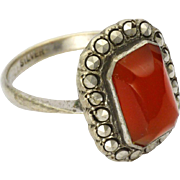 Art Deco Carnelian Glass Marcasites on Silver Ring