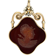 Edwardian 9K Gold & Carnelian Roman Head Intaglio Pendant