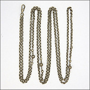 "French Decorative Belcher Silver Guard Chain -54"" -28.9 grams"