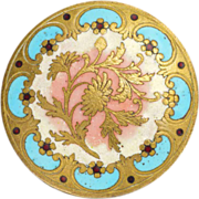 French Circa 1880-1890 Chrysanthemum Enamel Button