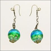 Foiled Glass Silver Drop Earrings - Pierced Ears