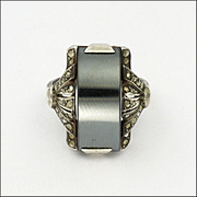 French Art Deco Silver Hematite Marcasite Ring