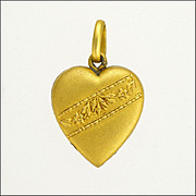 Gold Plated Repoussé Heart Charm - French Source
