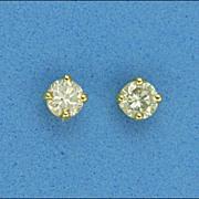 18 Carat Gold Diamond Stud Earrings - Pierced Ears
