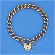 Victorian 9 Carat 'Night & Day' Curb Bracelet - Heart Padlock Clasp