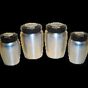 Vintage Kromex Aluminum Canister Set & Shakers