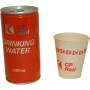 CPR Canadian Pacific Railway Drinking Water Can & Cup