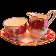 Royal Albert Old English Rose Cream Sugar & Tray