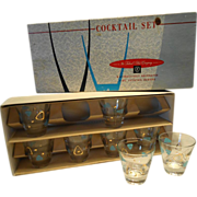SOLD Federal Atomic Amoeba Boomerang Cocktail Glasses