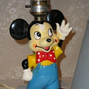 REDUCED Mickey Mouse Porcelain Lamp ca. 1940's