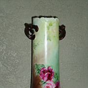 REDUCED Antique Vienna Austria Twisted Handle Hand Painted Vase