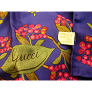 """Gucci Silk Scarf - Botanical Floral Design 34"""" Square - Made in Italy"""