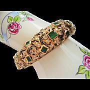 14 Kt. Gold Bracelet - Emerald & Diamond Estate Antique Bracelet  42.6 Grams - Fine Jewel ...