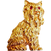14 Kt. Gold Yorkshire Terrier Figural Pin - Ruby Eyes - 16 Grams