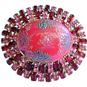 "Vintage Rhinestone Art Glass Dome Pin - Bold 2-5/8"" - Pink & Ruby Red Rhinestones,  Unsig"
