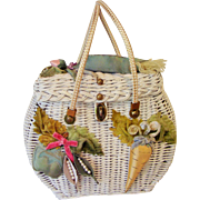 Midas of Miami - Vintage 1950's  Handbag  Wicker Purse - Whimsical  Embellished Vegetable ...