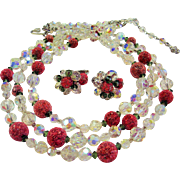 "Vendome Aurora Borealis Crystals &  ""Sugar"" Beads Demi - Triple Strand Necklace & Cl"