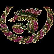 Trifari Fuchsia Berries & Leaves Parure - Necklace, Earrings, Brooch Alfred Philippe Design -
