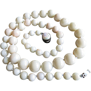 "Angel Skin Coral Necklace - Vintage Graduated Beads 14mm - 8mm - 26"" Long 107.6 Grams"