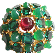 """Boucher Brooch - Vintage 1960's High Dome Pin Faux Emeralds & Ruby - 7/8"""" Dome Profile .."""