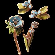 Hattie Carnegie Floral Pins & Earrings Set - Poured Glass Vintage 1950's - Designer Signed - .