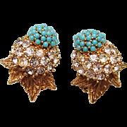 Ciner Earrings - Vintage Clip Earrings Faux Turquoise & Rhinestone Dome Floral & Leaf Design