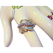 14 Kt. Yellow Gold & Diamonds - Cocktail Ring Size 7 - Wave Design  Round & Baguette Diamonds