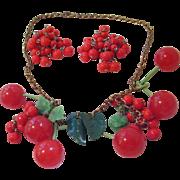Vintage Bakelite Cherry Necklace & Cluster Earrings - Book Piece with 6 Bakelite Cherries & ..