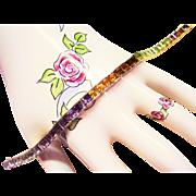 "14 Kt. Gold Multi-Color Rainbow Line Bracelet - 39 Princess Cut Gemstones - 7"" Long - 17"