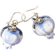 Cute Periwinkle Blue and White Earrings with Lampwork Beads