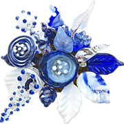 SALE Gorgeous, Unique, Glass Corsage in the Colors of Delft