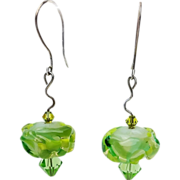 Charming Lampwork Earrings in Shades of Green