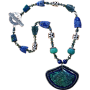 Valentine Gift! Azurite and Malachite Necklace, Hand-Beaded Cabochon Pendant, Sweetpea Cottage